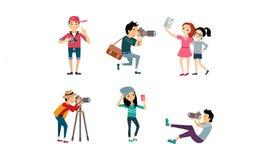 Gente que toma las fotos sistema, fotógrafo de presentación modelo que fotografía, muchachas del rato que hacen el ejemplo del ve ilustración del vector