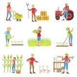 Gente que trabaja en el sistema de la granja ilustración del vector