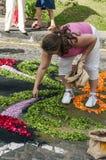 Gente que trabaja en la alfombra de flores Foto de archivo