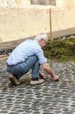 Gente que trabaja en la alfombra de flores Foto de archivo libre de regalías