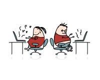 Gente que trabaja en la oficina, historieta para su diseño Fotografía de archivo