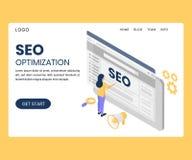 Gente que trabaja en la optimización del Search Engine de un concepto isométrico de las ilustraciones de la página web stock de ilustración