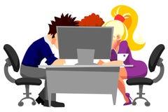 Gente que trabaja en oficina en el ordenador stock de ilustración
