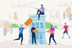 Gente que trabaja junto para construir la nueva casa stock de ilustración