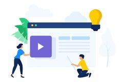 Gente que trabaja junto para crear el contenido de la página web stock de ilustración