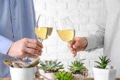 Gente que tuesta con los vidrios de vino blanco imágenes de archivo libres de regalías