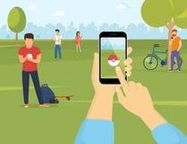 Gente que usa smartphones para coger pokemons en el parque stock de ilustración