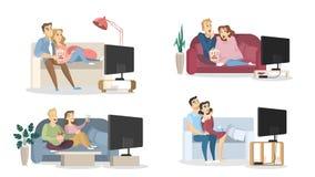 Gente que ve la TV ilustración del vector