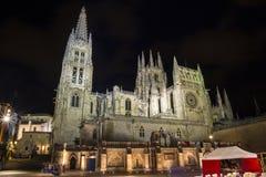 Gente que visita Catedral de Burgos en la noche fotografía de archivo libre de regalías