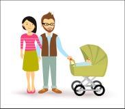 Gente recién nacida de los pares del bebé de la familia joven del comienzo plana ilustración del vector