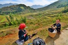 Gente rossa di Dzao PA del Sa vietnam Fotografie Stock