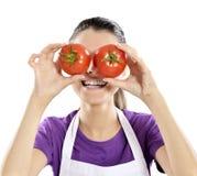 Gente sana: Mujer del tomate Foto de archivo