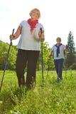 Gente senior che fa un'escursione di estate Immagini Stock