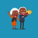 Gente senior con il porcellino salvadanaio dorato, Immagini Stock Libere da Diritti