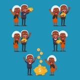 Gente senior con il porcellino salvadanaio dorato, Fotografia Stock