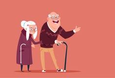 Gente senior delle coppie che cammina con il nonno moderno e la nonna del bastone integrali illustrazione di stock