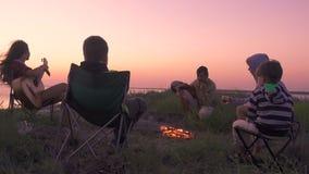 Gente sentada en la playa con fogata al atardecer metrajes