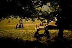 Gente silueteada que merienda en el campo Foto de archivo
