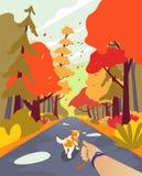 Gente simple de la historieta en el parque del otoño Recorre el perro El recorrer con el perro Estilo minimalistic del paisaje de stock de ilustración