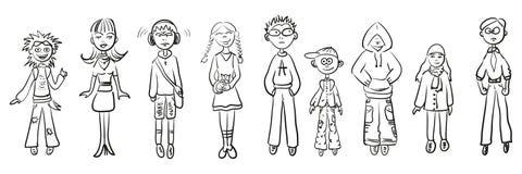 Gente simple de los bosquejos Foto de archivo libre de regalías