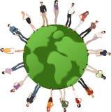 Gente sobre el globo de la tierra Imágenes de archivo libres de regalías