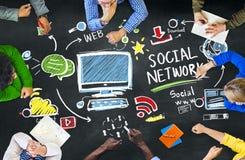 Gente social de la red social medios que hace frente a concepto de la educación Fotos de archivo libres de regalías