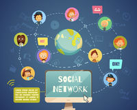 Gente social del establecimiento de una red de diversos empleos ilustración del vector