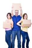 Gente sorridente con i documenti in bianco Fotografie Stock Libere da Diritti