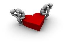 Gente triste che si siede sul cuore Immagini Stock