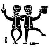 Gente ubriaca, due uomini che bevono icona, illustrazione di vettore, segno su fondo isolato illustrazione di stock