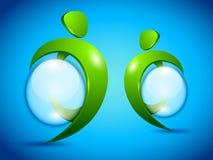 Gente verde del vector con la burbuja del agua Fotos de archivo libres de regalías