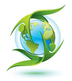 Gente verde que gira alrededor de la tierra ilustración del vector