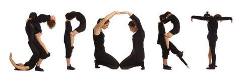 Gente vestita il nero che forma parola di SPORT fotografie stock libere da diritti