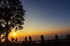 Gente y árboles silueteados con puesta del sol Imagenes de archivo