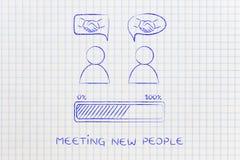 Gente y aprobación de la reunión: hombres con el apretón de manos en burbujas cómicas Fotografía de archivo