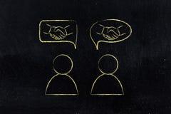 Gente y aprobación de la reunión: hombres con el apretón de manos en burbujas cómicas Foto de archivo