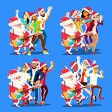 Gente y guitarra de Santa Claus Dancing With Group Of en manos Hombres y mujeres positivos Tener baile de la diversión Navidad stock de ilustración
