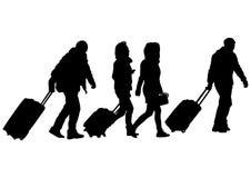 Gente y maletas dos Fotos de archivo