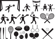 Gente y objetos del pictograma del deporte Foto de archivo libre de regalías