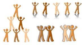 Gente y pirámide del trabajo en equipo ilustración del vector