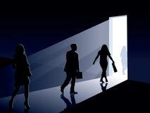 Gente y puerta