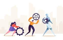 Gente y robot que trabajan junto Caracteres humanos y engranaje rodante robótico Hombre futuro y concepto de la sociedad del Ai ilustración del vector