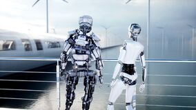 Gente y robots Estación de Sci fi Transporte futurista del monorrail Concepto de futuro Animación realista 4K stock de ilustración