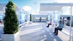 Gente y robots Estación de Sci fi Transporte futurista del monorrail Concepto de futuro Animación realista 4K