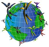 Gente y world2 Imagen de archivo