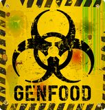 Genetically modified food. Warning sign: genetically modified organism Stock Images