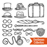 Gentelman Vintage Accessories Doodle Black Set Stock Photo