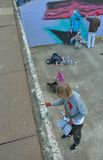 Gentian Taggers, Form of street-art:Speciality graffiti, Teamwork Royalty Free Stock Image
