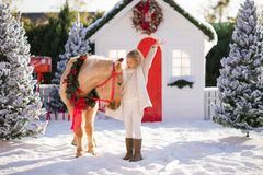 Gentil enfant bouclé blond et poney adorable avec la guirlande de fête près de la petite maison en bois et des arbres couverts de images stock