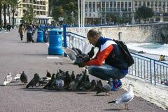 Gentil, France, mars 2019 Un jour ensoleillé chaud, un homme alimente les pigeons de la ville avec du pain contre la mer de turqu photos stock